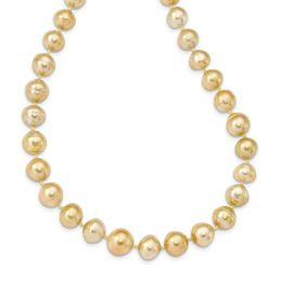 14K Yellow Gold 9-12MM Golden Saltwater Cult South Sea Graduated Baroque Pearl Necklace
