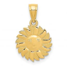 14K Yellow Gold Sun with Face Charm Pendant