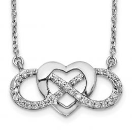 """14K White Gold Diamond Infinity with Heart Necklace, 18"""" (0.20CTW)"""