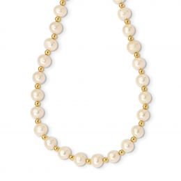 """14K Yellow Gold 6-7MM White Near Round Freshwater Cultured Pearl Bead Necklace, 18"""""""