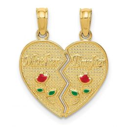 14K Yellow Gold Mother and Daughter Two Piece Break-Apart Heart Charm Pendant