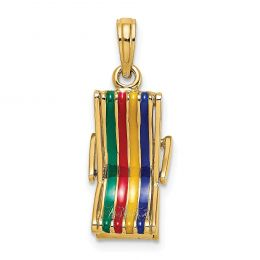 14K Yellow Gold 3-D Moveable Multi-Color Beach Lounge Chair Charm Pendant