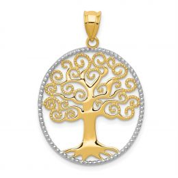 14K Two Tone Gold Filigree Tree of Life in Oval Frame Charm Pendant