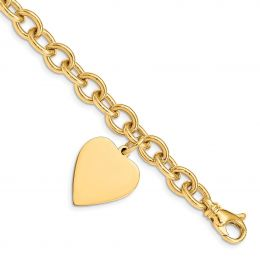 """14K Yellow Gold Polished Engravable Link with Heart Charm Bracelet, 8.5"""""""