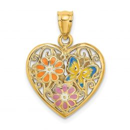 14K Yellow Gold Reversible 3-D Heart With Enamel Butterfly And Flowers Charm Pendant