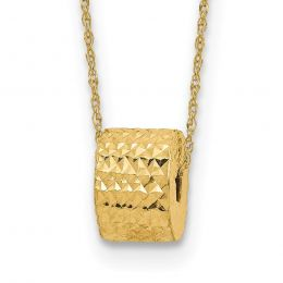 """14K Yellow Gold Rope Link 6 MM with Barrel Bead and 2"""" Extension Necklace, 16"""""""