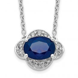 """14K White Gold Diamond and Sapphire Necklace, 18"""" (0.10CTW)"""