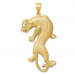 14K Yellow Gold Panther Charm Pendant