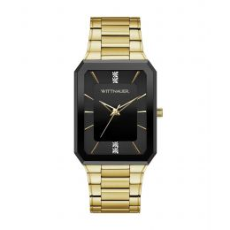 Wittnauer WN3092 Men's Omni Diamond Accent Gold-Tone Watch with Black Dial