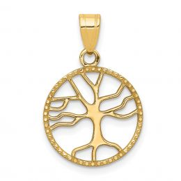 14K Yellow Gold Small Tree of Life in Round Frame Charm Pendant