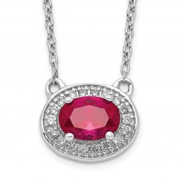 """14K White Gold Diamond and Ruby Necklace, 18"""" (0.10CTW)"""