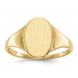 14K Yellow Gold 12 MM Oval Engravable Signet Ring, Size 7