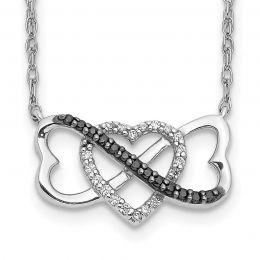 """14K White Gold Black and White Diamond Triple Heart Charm Pendant with Necklace, 18"""" (0.10CTW)"""
