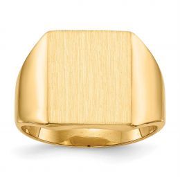 14K Yellow Gold 15.1 MM Men's Square Engravable Signet Ring, Size 10