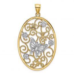 14K Two Tone Gold Butterfly And Flower Cluster In Oval Frame Charm Pendant