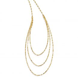 """14K Yellow Gold 1.5 MM Polished 3 Strand Fancy Necklace, 19.5"""""""