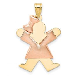 14K Two Tone Gold Puffed Girl Joy with Bow on Left Engravable Charm Pendant