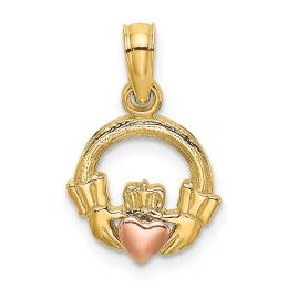 14K Two Tone Gold Claddagh With Heart Charm Pendant
