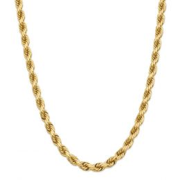 14K Yellow Gold 8 MM Diamond-Cut Rope Link Chain Necklace