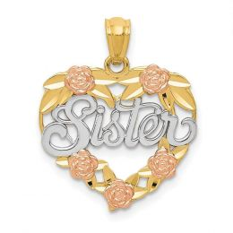 14K Tri Color Gold Sister with Flowers in Heart Charm Pendant