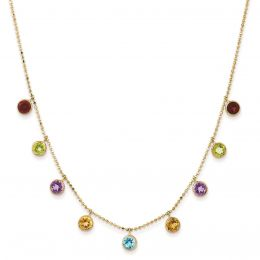 """14K Gold 5 MM Multi-Color Gemstone with 2"""" Extension Necklace, 16"""""""
