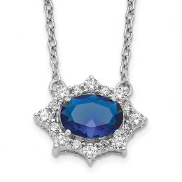 """14K White Gold Diamond and Sapphire Necklace, 18"""" (0.25CTW)"""
