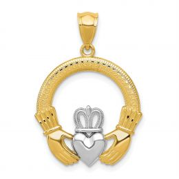 14K Two Tone Gold Claddagh Heart Charm Pendant