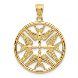 14K Yellow Gold Doves in Circle Charm Pendant