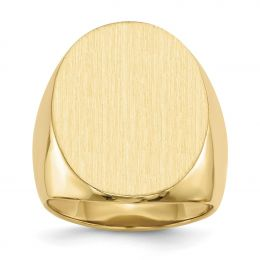 14K Yellow Gold 26 MM Men's Oval Engravable Signet Ring, Size 10