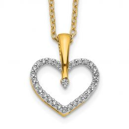 """14K Yellow Gold Diamond Heart Charm Pendant with Necklace, 18"""" (0.10CTW)"""