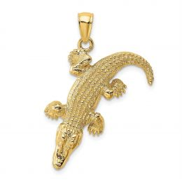 14K Yellow Gold 3-D Large Alligator With Closed Mouth Charm Pendant