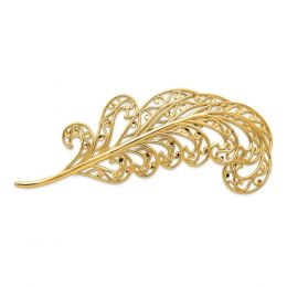 14K Yellow Gold Filigree Feather Pin Brooch