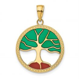14K Yellow Gold Enameled Tree of Life in Round Frame Charm Pendant