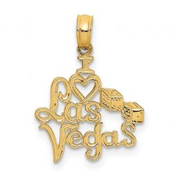 14K Yellow Gold Polished I HEART Las Vegas with Dice Engraved Charm Pendant