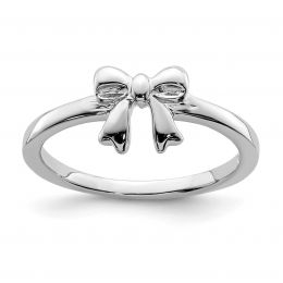 925 Sterling Silver Children's Bow Ring, Size 4