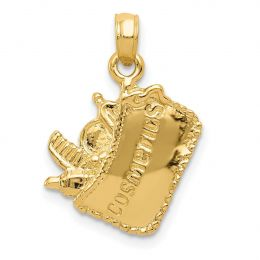 14K Yellow Gold 3-D Cosmetic Pouch Charm Pendant