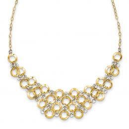 """14K White And Yellow Gold 2 MM Adjustable Circle Necklace, 16"""""""