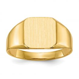 14K Yellow Gold 11.3 MM Men's Square Engravable Signet Ring, Size 10