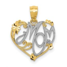 14K Two Tone Gold Mom in Heart Charm Pendant