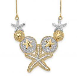 """14K White And Yellow Gold 45 MM Diamond-cut Sea Life Necklace, 18"""""""