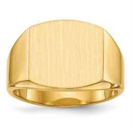 14K Yellow Gold 14.1 MM Men's Square Engravable Signet Ring, Size 10