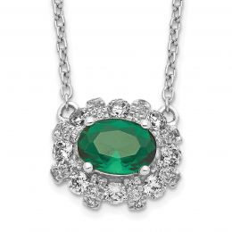 """14K White Gold Diamond and Emerald Necklace, 18"""" (0.40CTW)"""