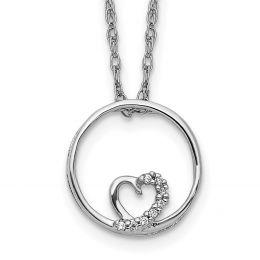 """14K White Gold Circle and Heart Pendant with Necklace, 18"""" (0.01CTW)"""