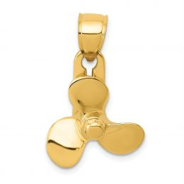 14K Yellow Gold 3D Moveable Blade Propeller Charm Pendant
