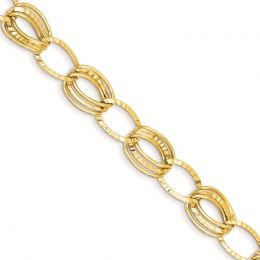 """14K Gold 11 MM Polished and Textured Hollow with Extension Bracelet, 7.5"""""""