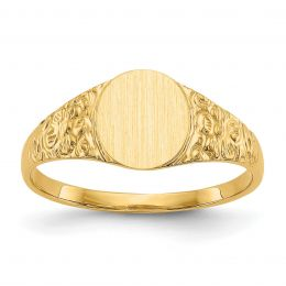 14K Yellow Gold 8 MM Engravable Round Signet Ring, Size 6