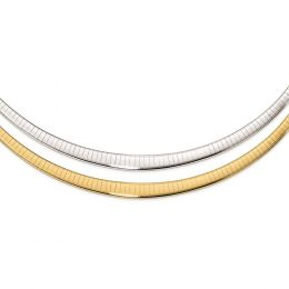 14K White And Yellow Gold Polished 3 to 6 MM Graduated Reversible Omega Necklace