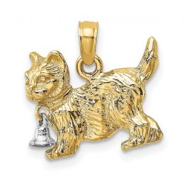 14K Two Tone Gold 3-D Cat With Dangling Bell Charm Pendant