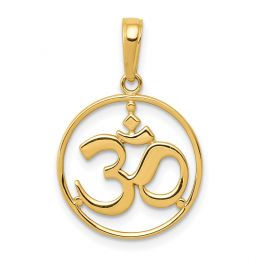 14K Yellow Gold Cut-out Round Frame Yoga Symbol Charm Pendant
