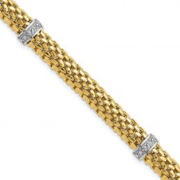 """14K White And Yellow Gold 9 MM Completed Polished Diamond and Mesh Bracelet, 7.25"""""""